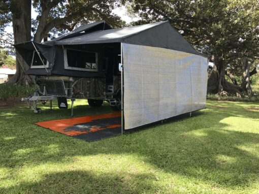 4.6 Camper trailer shade wall that attaches by the hook or loop edge