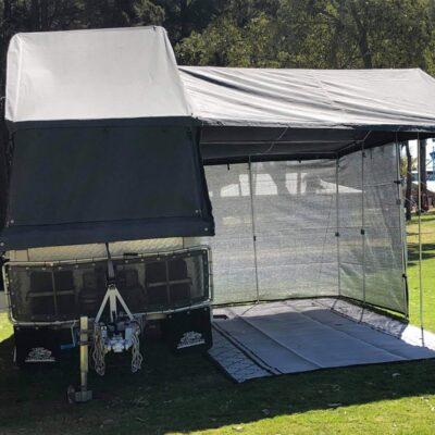 Camper trailer awning shade wall