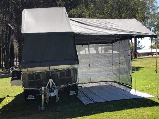 Camper trailer awning shade wall