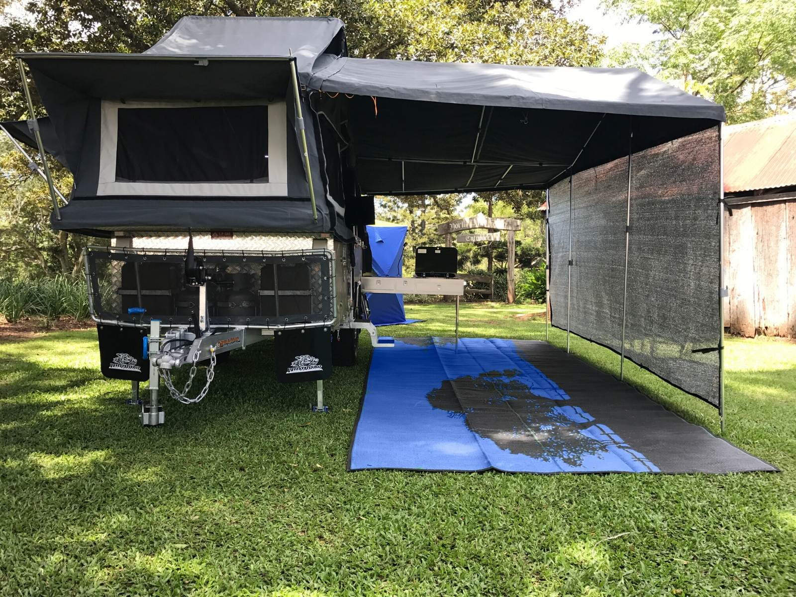 Camper trailer shade for awning