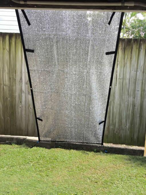 Aluminium Caravan fridge shade screen 1m wide 2 m drop. reduces heat