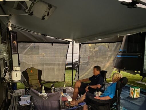 Relaxing under your awning with privacy from the passers by.